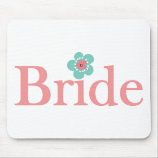 Bride Pink and Turquoise Flower Mouse Pad