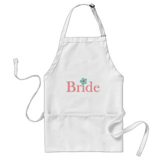 Bride Pink and Turquoise Flower Standard Apron