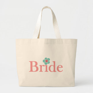 Bride Pink and Turquoise Flower Jumbo Tote Bag