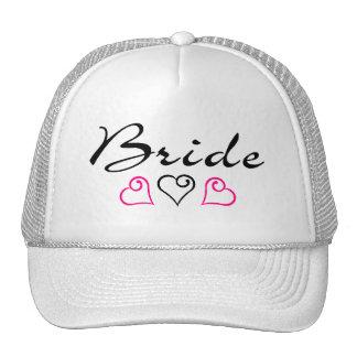 Bride Pink Black Hearts Hats