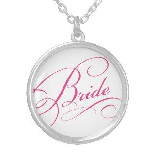 BRIDE pink elegant typography script Round Pendant Necklace