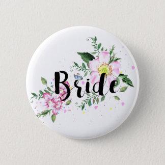Bride Pink Floral Watercolor Wedding Bridal Shower 6 Cm Round Badge