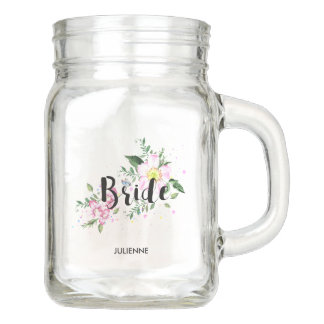 Bride Pink Floral Watercolor Wedding Bridal Shower Mason Jar