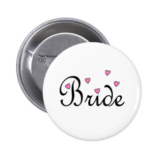 Bride Pink Hearts Pinback Buttons
