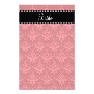 Bride red damask gifts stationery