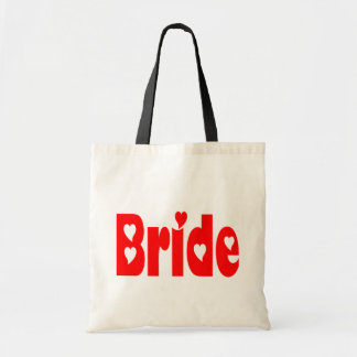 Bride Red Heart Wedding Tote Bag Budget Tote Bag
