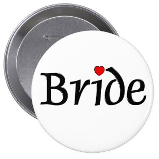 Bride Red Hearts Buttons