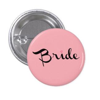 Bride Retro Script Pink 3 Cm Round Badge