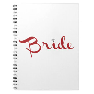 Bride Retro Script Red Spiral Note Book