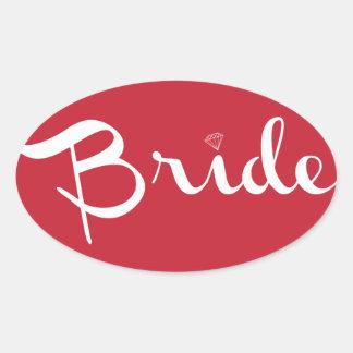 Bride Retro Script White Oval Sticker