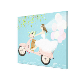 Bride Riding a Scooter Canvas Print