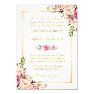 (Bride's Parents) Elegant Floral Chic Gold Wedding 13 Cm X 18 Cm Invitation Card