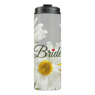 """Bride"" Script on White and Yellow Daisies Thermal Tumbler"