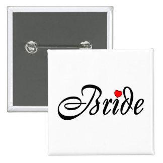 Bride (Script Red Hrt) 15 Cm Square Badge