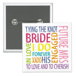 Bride Sentiments Wedding 15 Cm Square Badge