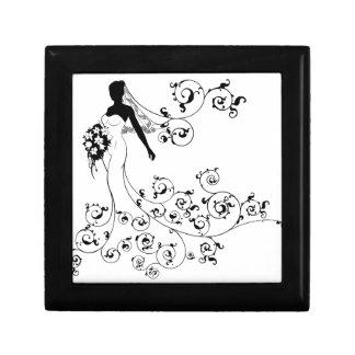 Bride Silhouette Bouquet Wedding Concept Gift Box