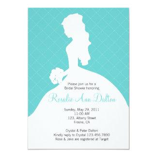 Bride Silhouette - Bridal Shower Invitaion (Teal) 13 Cm X 18 Cm Invitation Card