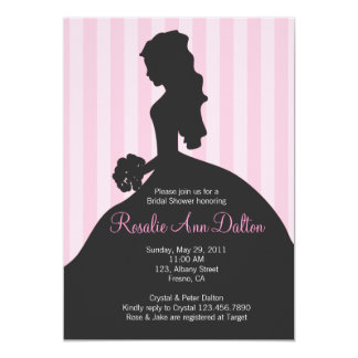 Bride Silhouette - Bridal Shower Stripes (Pinkl) 5x7 Paper Invitation Card