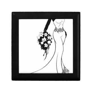 Bride Silhouette in Wedding Dress Gift Box