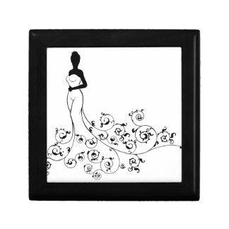 Bride Silhouette Wedding Design Small Square Gift Box