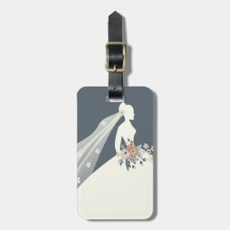 Bride Silhouette with flower bouquet Luggage Tag
