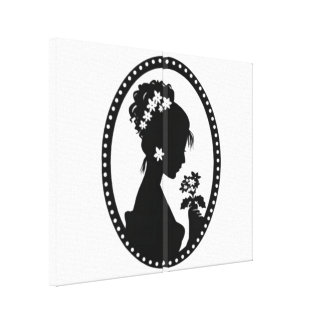 Bride Silhouette with Flowers Canvas Prints