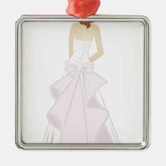 Bride Silver-Colored Square Decoration