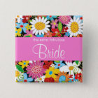 BRIDE Spring Flowers Garden Wedding Name Tag 15 Cm Square Badge