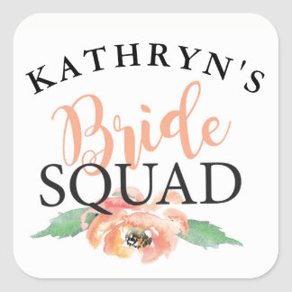 Bride Squad Bridal Shower Stickers Floral Coral