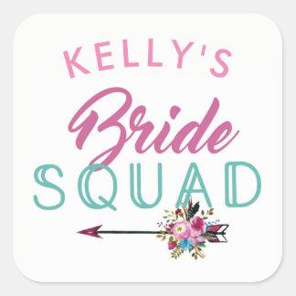 Bride Squad Bridal Shower Stickers Floral Hen