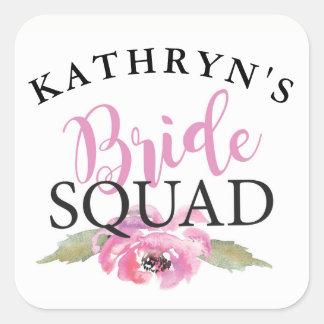 Bride Squad Bridal Shower Stickers Floral Pink