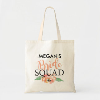 Bride Squad Floral Coral Tote Bag Gift Customise