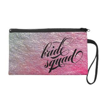 Bride Squad PINK ROSE ombre cute wristlet bag