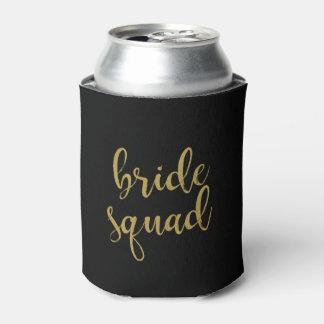 Bride Squad Stylish Gold Glitter Bridesmaid Can Cooler