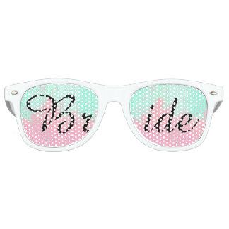 Bride Summer Pink Teal Watercolor Wedding Wayfarer Sunglasses