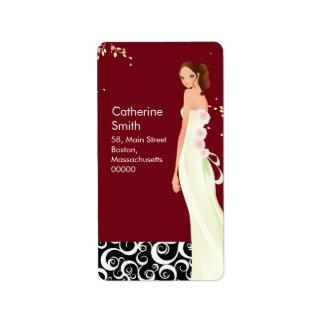 Bride Swirl Address Labels in Burgundy