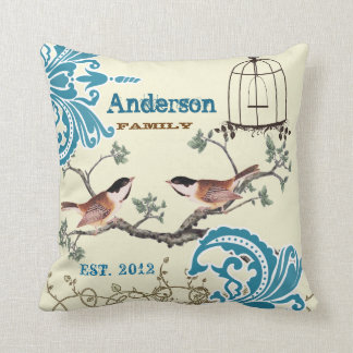 Bride Teal Damask Chickadee Birdcage Established D Throw Pillow