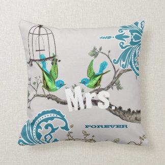 Bride Teal & Green Damask Love Bird  Birdcage Cushion