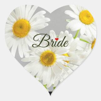 Bride, text design on white daisies heart sticker
