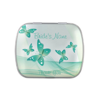Bride Thank You Green Butterflies Jelly Belly Candy Tin