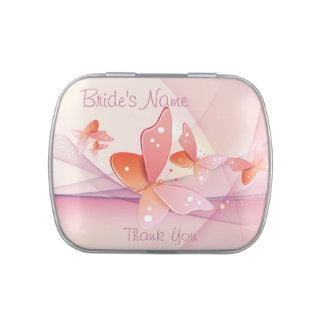 Bride Thank You Pink Butterflies Jelly Belly Tin