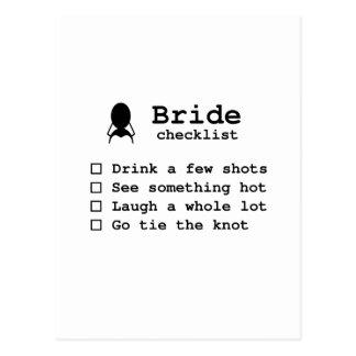 Bride to be checklist postcard