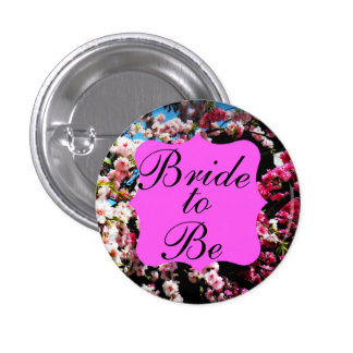 """Bride to Be"" Japanese Cherry Blossom Button"