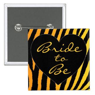 Bride to be orange yellow zebra bachelorette pin