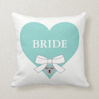 Bride to Be Party Teal Blue Heart Throw Pillow