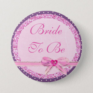 Bride to Be Pink Bow Faux Glitter Button