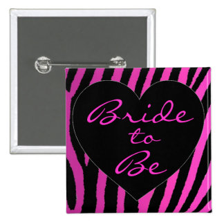 Bride to be pink zebra bachelorette button