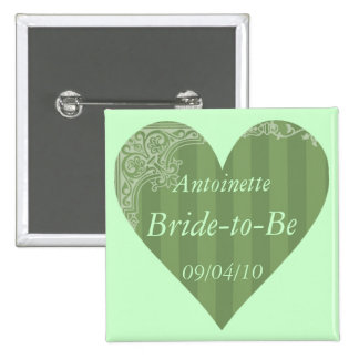 """""""Bride-to-Be"""" w/ Your Name and Wedding Date 15 Cm Square Badge"""