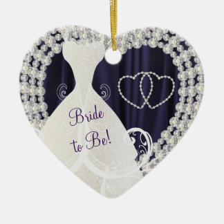 Bride to Be White Diamonds Plum Purple Wedding Ceramic Ornament