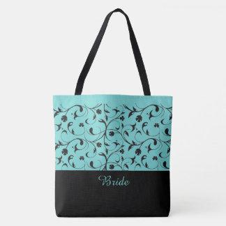 Bride Tote Bag Aqua & Black Scrolls